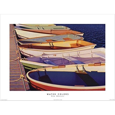 Water Colors by Rob Brooks 24x18 Art Print Poster Nautical Ocean Port Side Colorful Row Boats Attached to -