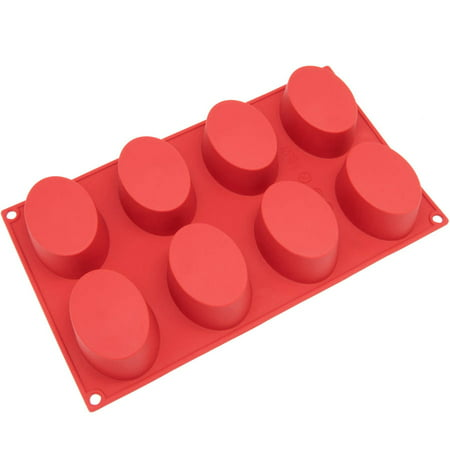 Freshware 8-Cavity Oval Silicone Mold for Soap, Muffin, Brownie, Cake, Pudding and Jello, SL-118RD