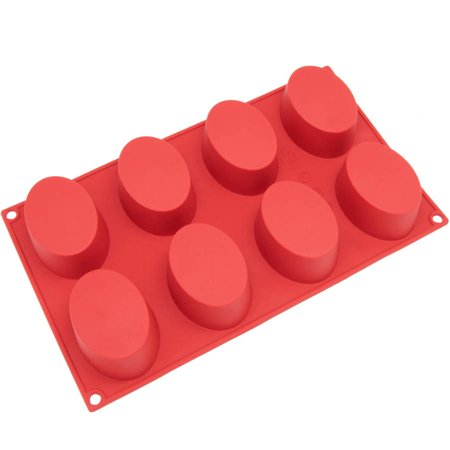 Freshware 8-Cavity Oval Silicone Mold for Soap, Muffin, Brownie, Cake, Pudding and Jello,
