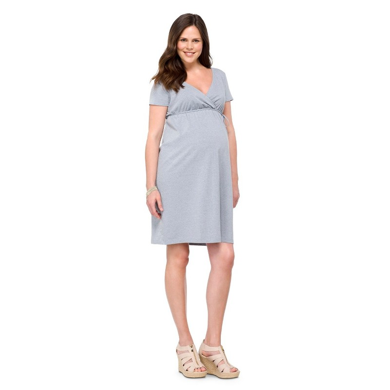 Maternity Short Sleeve Nursing Friendly Dress Gray L-Liz Lange 15422901
