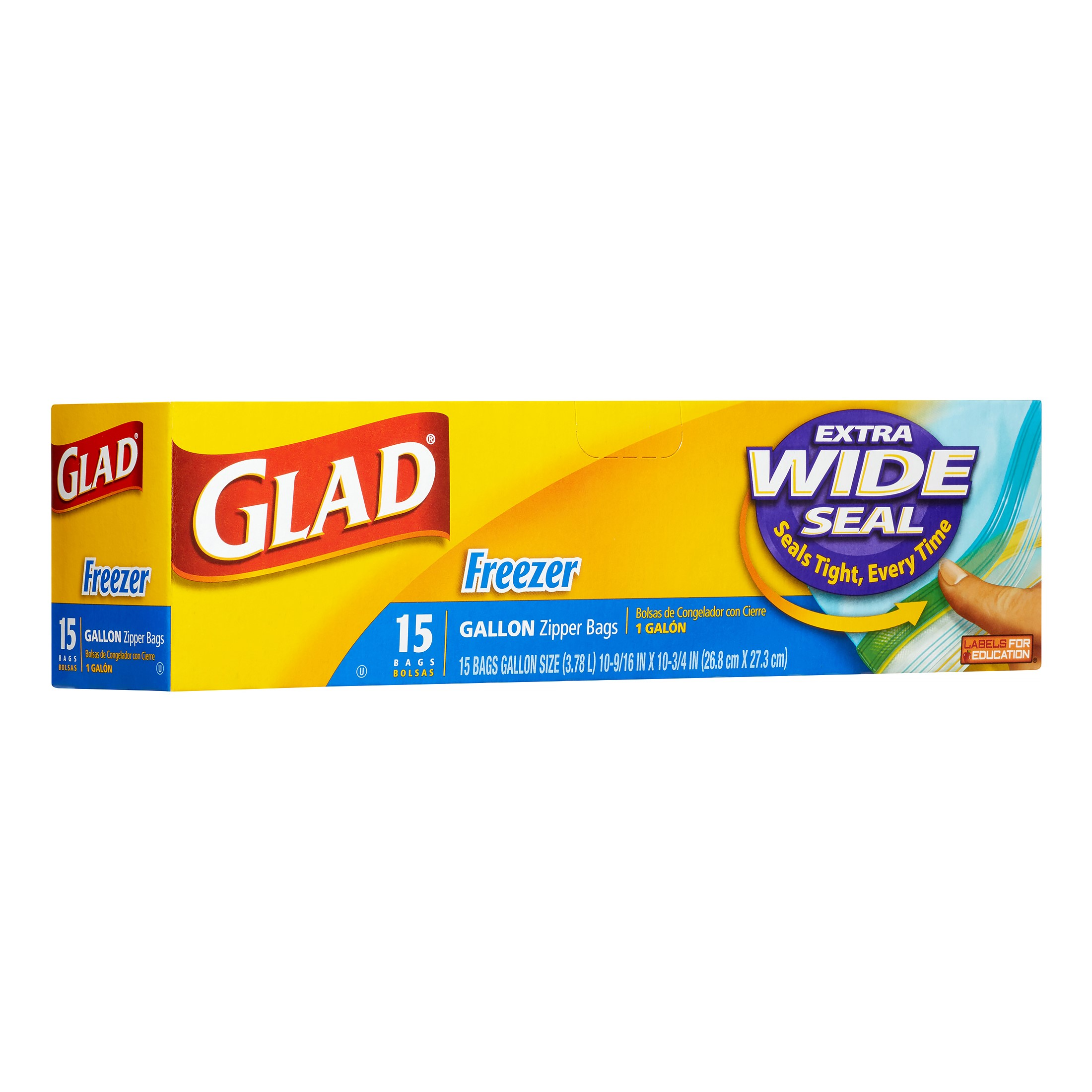Glad Food Storage Bags, Freezer Zipper, Gallon, 15 Count