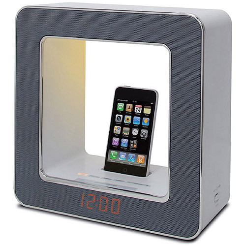 TEAC SR-LUXiWT Table Lamp with Built-in FM Clock Radio and iPod/iPhone Dock, White