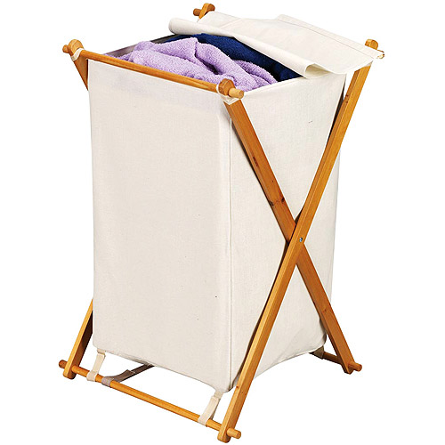 Household Essentials Single X-Frame Folding Hamper with Natural Bag