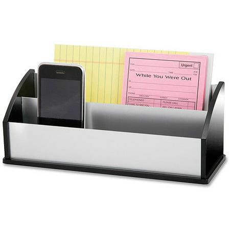 Kantek Rotating Desktop Organizer (Kantek Letter and Message Organizer, Black Acrylic and Aluminum, 3.5 X 10.25 X 4 inches)