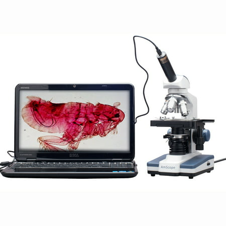 AmScope 40X-2500X LED Digital Monocular Compound Microscope w 3D Stage +1.3MP USB Imager (Best Compound Microscope Cost)
