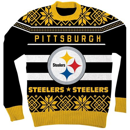 nfl pittsburgh steelers logo adult black football ugly christmas sweater walmartcom