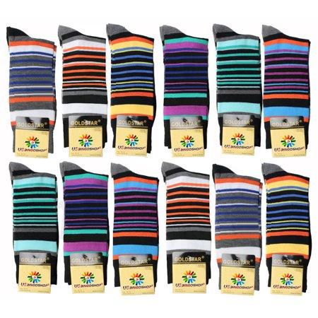 USBingoshop 12 Pairs Men's Striped Fashion Cotton Casual Dress Socks Soft Crew Socks