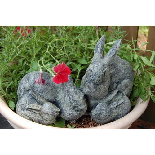 Ladybug Garden Decor Bunny Family Statue