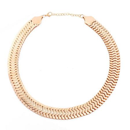Unisex Metal Vintage Style Flat Oval Snake Design Chain Necklace Decor Gold