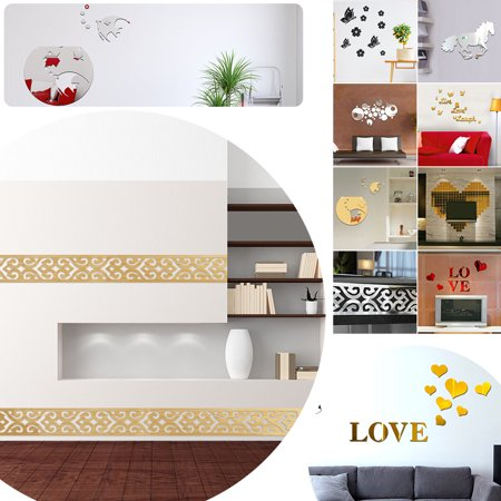 7 Styles Removable Decal Home Kitchen Decor Art Mural 3D Mirror Acrylic Wall Sticker Waterproof 10Pcs Patterned Silver