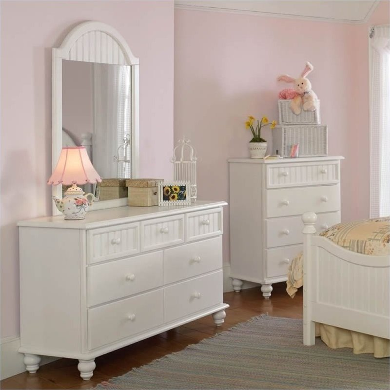 Rosebery Kids 7 Drawer Double Dresser and Mirror Set in Off-White