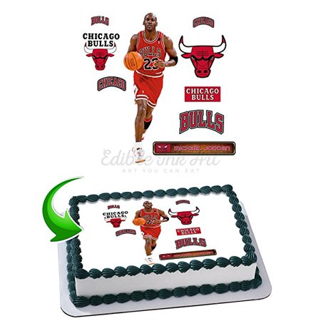 Michael Jordan Edible Image Cake Topper Icing Sugar Paper A4 Sheet Edible Frosting Photo Cake 1/4 ~ Best Edible Image for