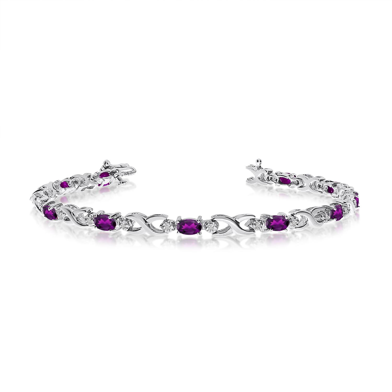 14K White Gold Oval Amethyst and Diamond Bracelet by