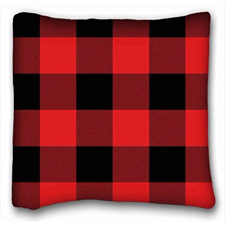WinHome Pillowcase Rustic Red And Black Buffalo Check Plaid Throw Pillow Case Cases Cover Cushion Covers Sofa Size 18x18 Inches Two Side ()