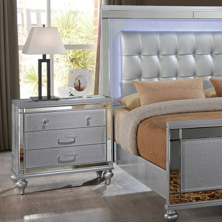 Faux Leather Drawers (Home Source Kelly 3 Drawer Silver Nighstand with Textured Faux Leather, Jeweled Handles, and Mirrored Trim )