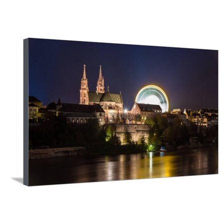 Basel Minster over the Rhine by Night - Switzerland Stretched Canvas Print Wall Art By Leonid (Over The Rhine Darkest Night Of The Year)