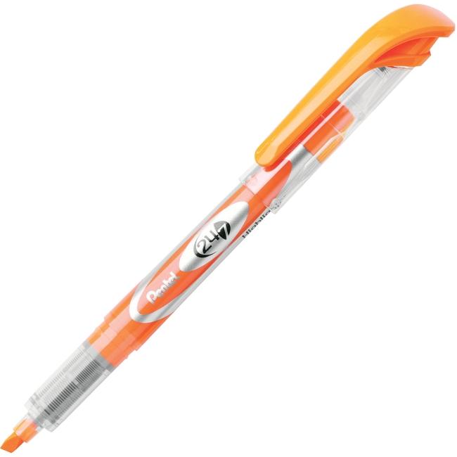 Pentel 24/7 Chisel Tip Highlighter - Chisel Point Style - Orange Ink