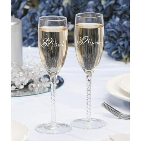 Darice Bride Groom Twisted Champ. Glasses - Groom Design Toasting Flutes