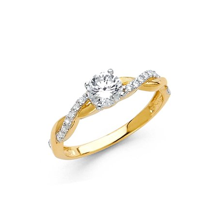 CZ Solitaire Infinity Ring Solid 14k Yellow Gold Band Engagement Style Round CZ Small Fancy ()