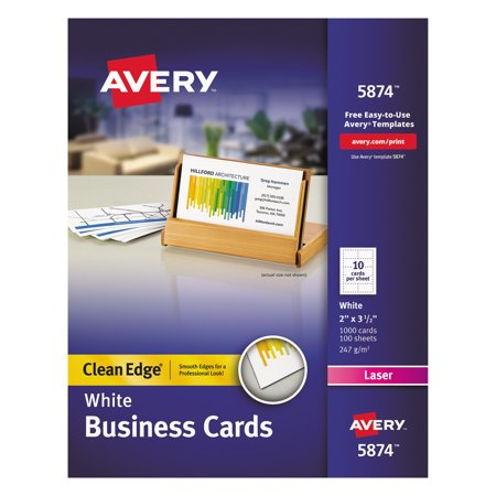 Avery clean edge business cards laser 2 x 3 12 white 1000box avery clean edge business cards laser 2 x 3 12 white reheart Images