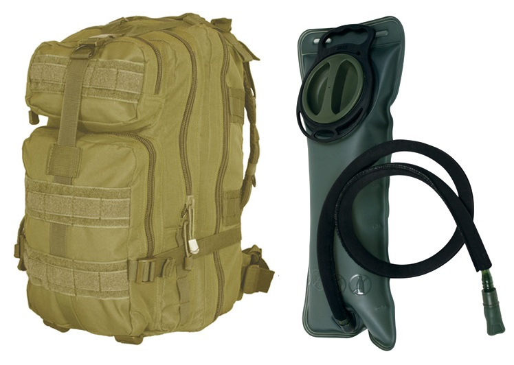 "Coyote Tan Combat Survival Transport Medium 17"" Bug-Out Bag BackPack MOLLE Military Rucksack Pack + 2.5 Liter 84... by"