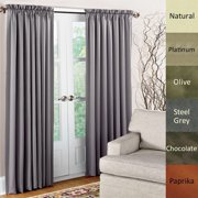 Dupioni Pure Silk Rod Pocket Curtain Panel OLIVE 84""