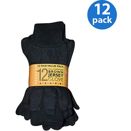 HANDS ON - CT7000-L-12PK, 12 Pair Value Pack, Poly/Cotton Blend Brown Jersey Glove