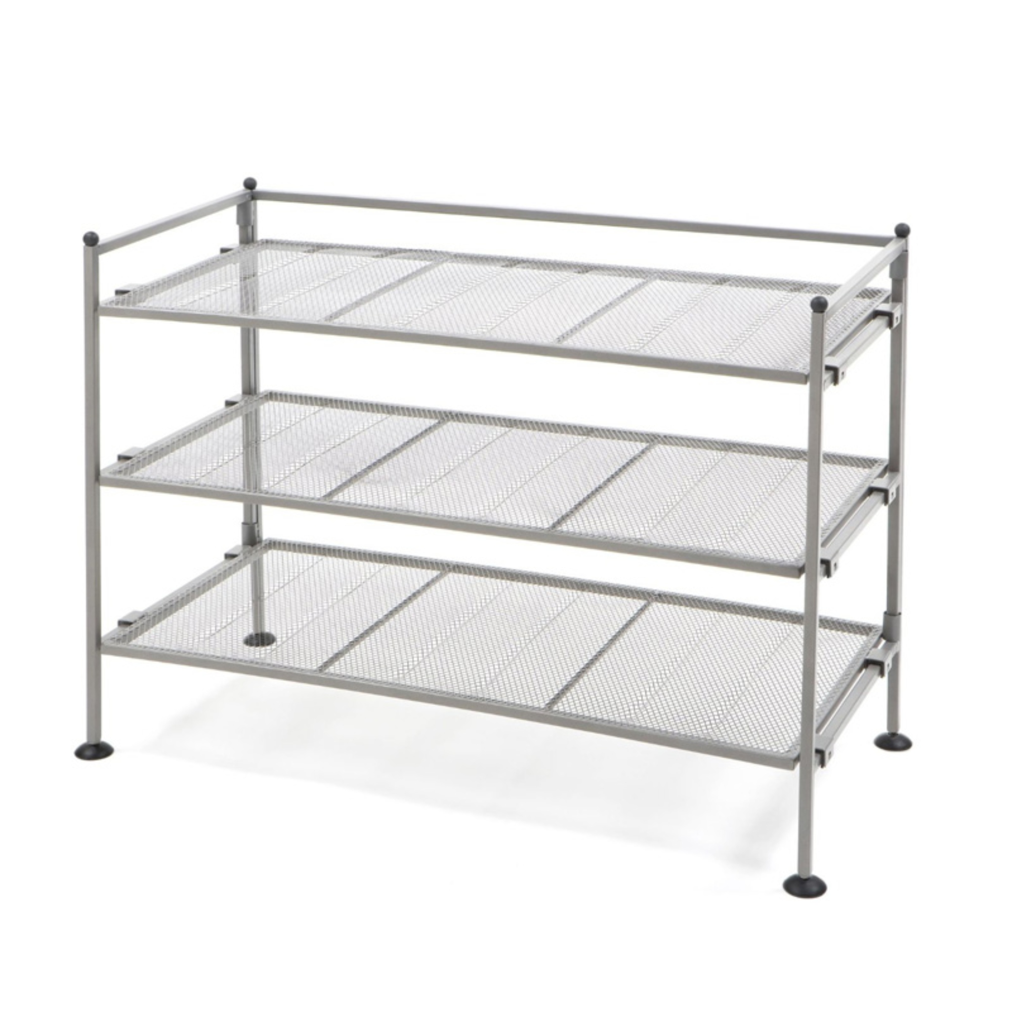 3-Tier Iron Mesh Utility Shoe Rack, Satin Pewter by Seville Classics