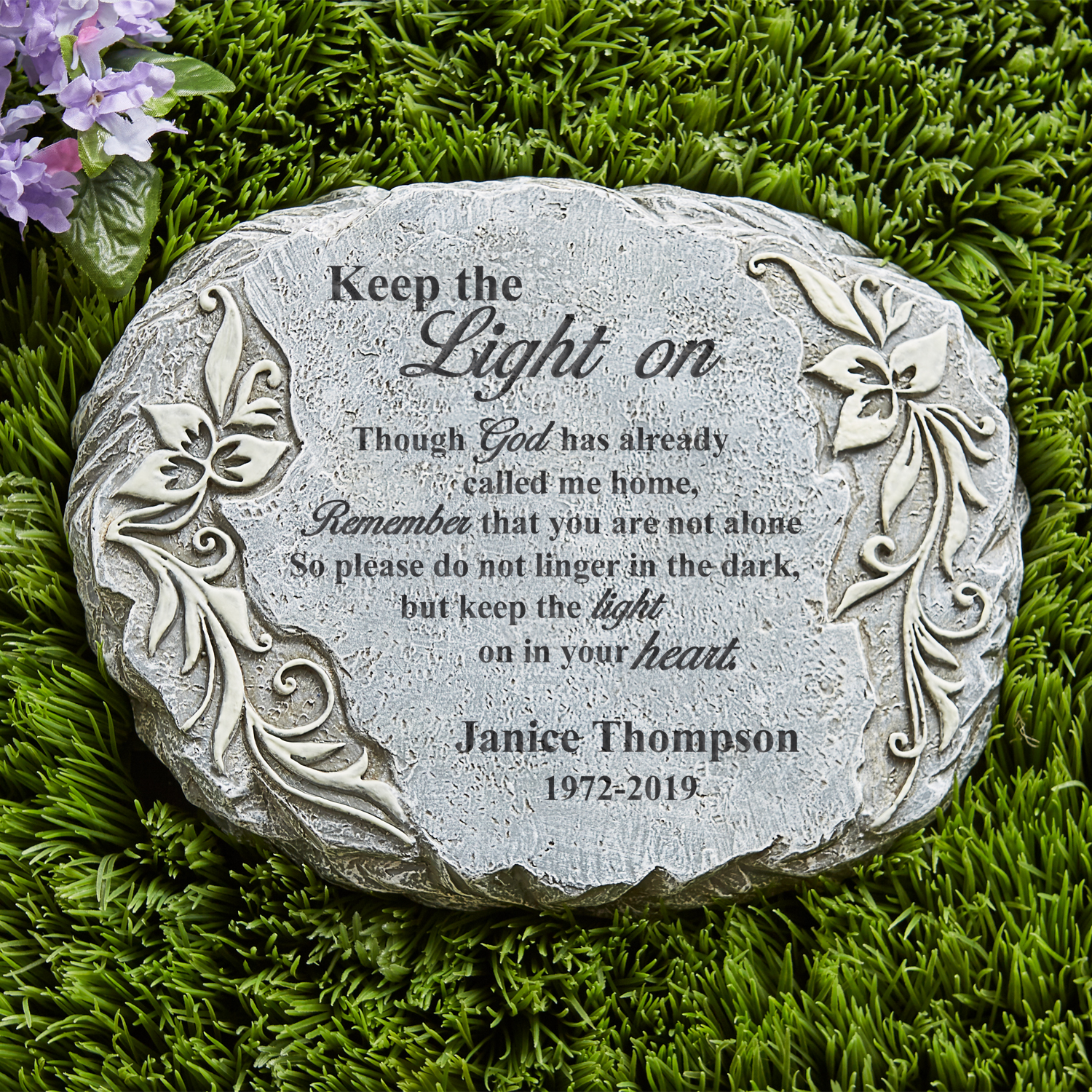 Personalized Keep The Light On Glow Garden Stone