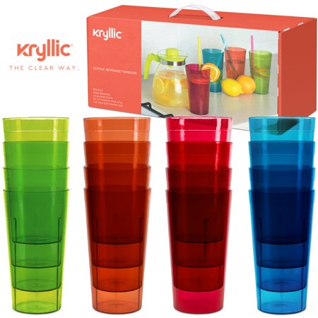 Plastic Tumblers Dishwasher Safe Water Drinking Glasses Reusable Cups Acrylic Tumblers Break Resistant 20- Ounce Tumbler Set of 16 in 4 Assorted Colors Best Gift Idea by Kryllic ()