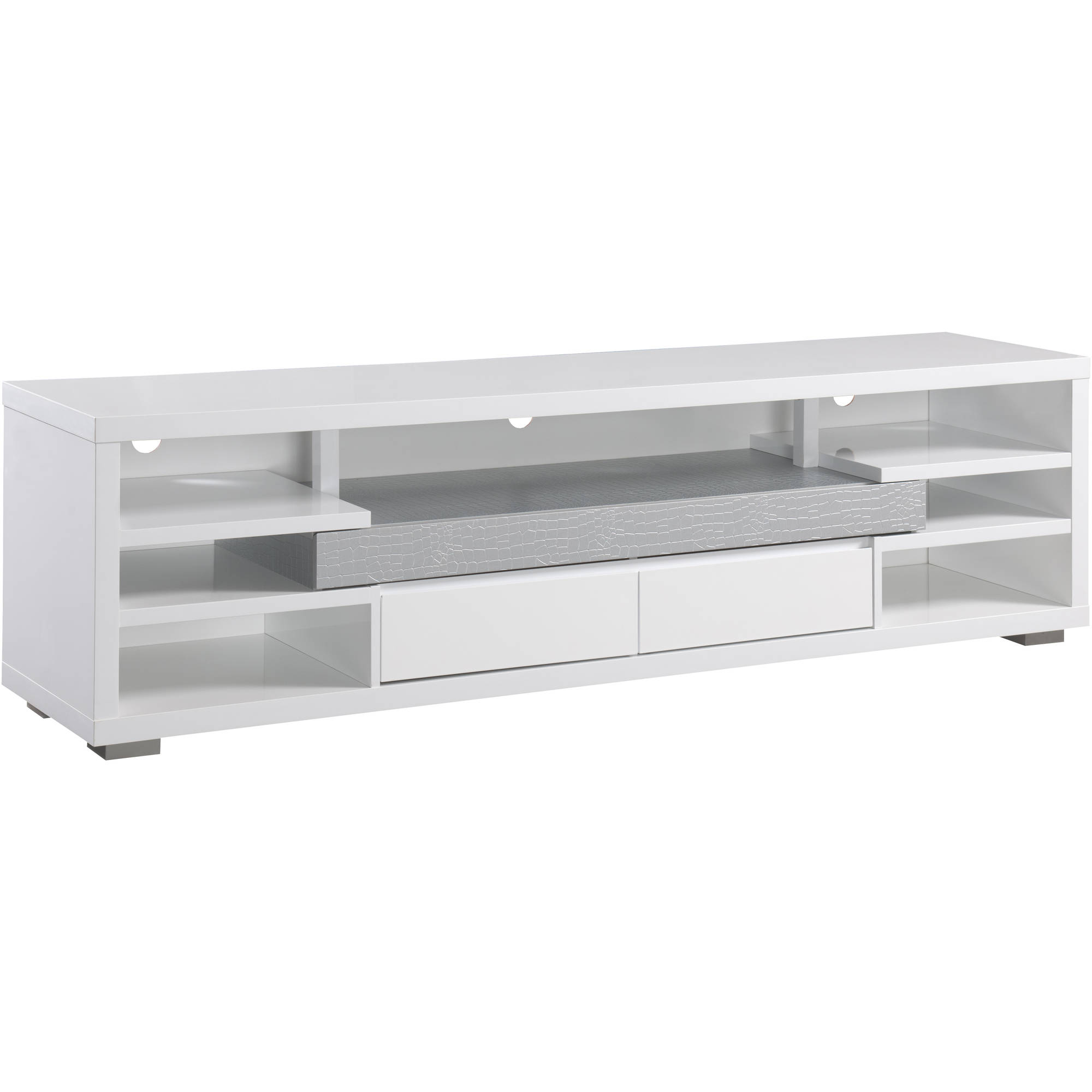 Furniture Of America Phillippe 70 Inch Tv Stand White Silver