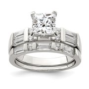 925 Sterling Silver Cubic Zirconia Wedding Ring Size 8 for Womens