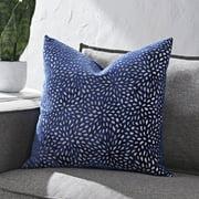 Better Homes & Gardens Blue Velvet Blooms 20X20 Square Feather Filled Throw Pillow, Single Pillow, Velvet Burnout