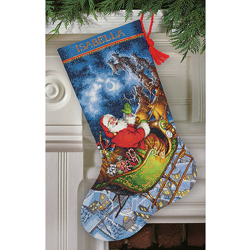 "Gold Collection Santa's Flight Stocking Counted Cross Stitch, 16"" Long, 16-Count"
