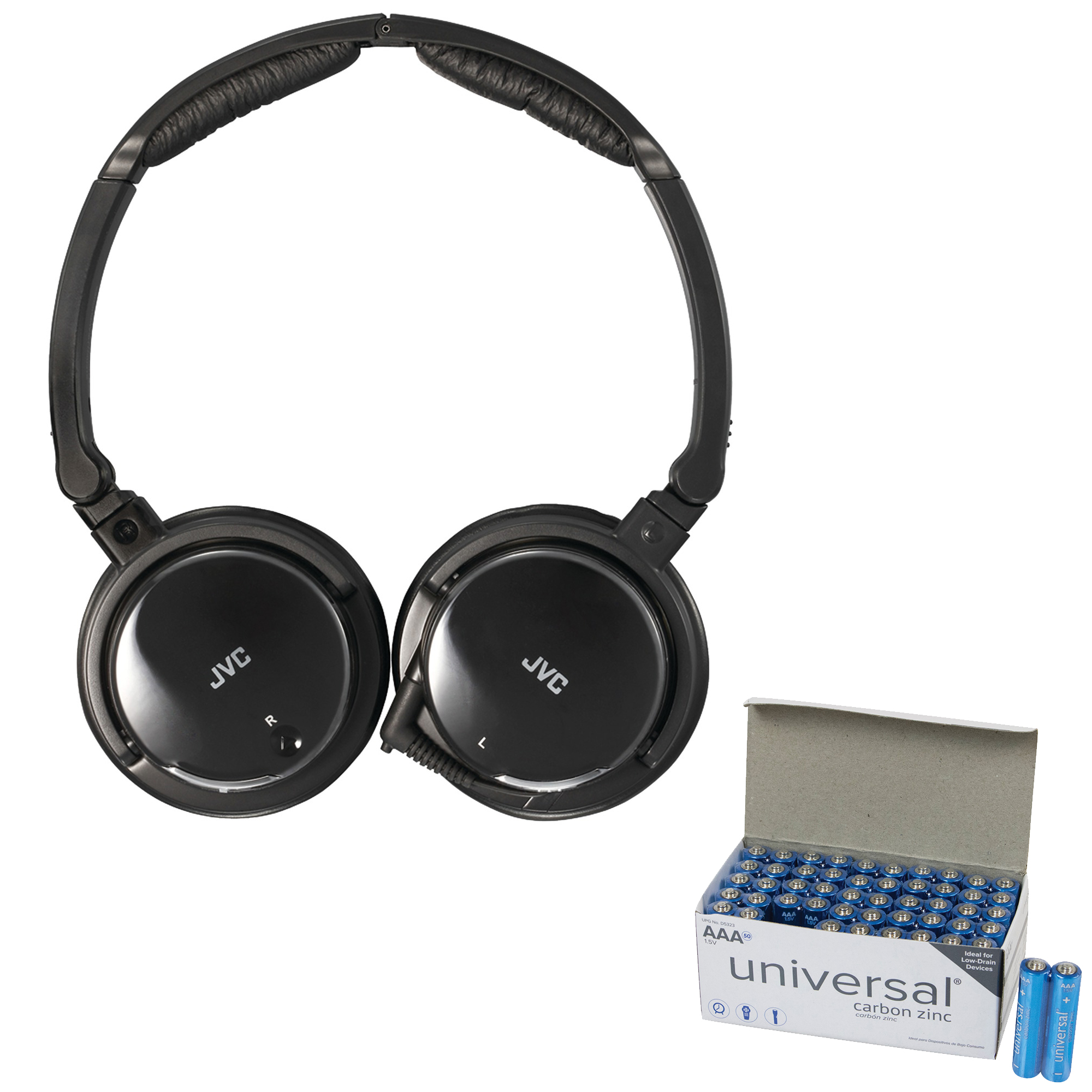 JVC HANC120 Noise-Canceling Headphones With Retractable Cord & UPG AAA 50 Pack