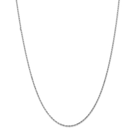 10K White Gold 1.7mm Machine Made Diamond Cut Rope Chain - image 5 of 5