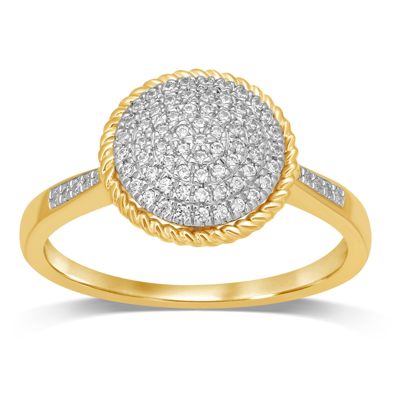 Diamond Jewel 10K Yellow Gold 1/5 Cttw Diamond Cluster Engagement Ring