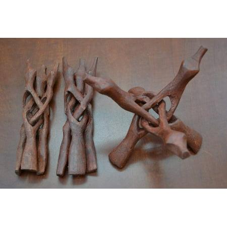 Wood Fiberglass Tripod - 3 Pc Wood Carved Tripod Snake Holder Stand 8