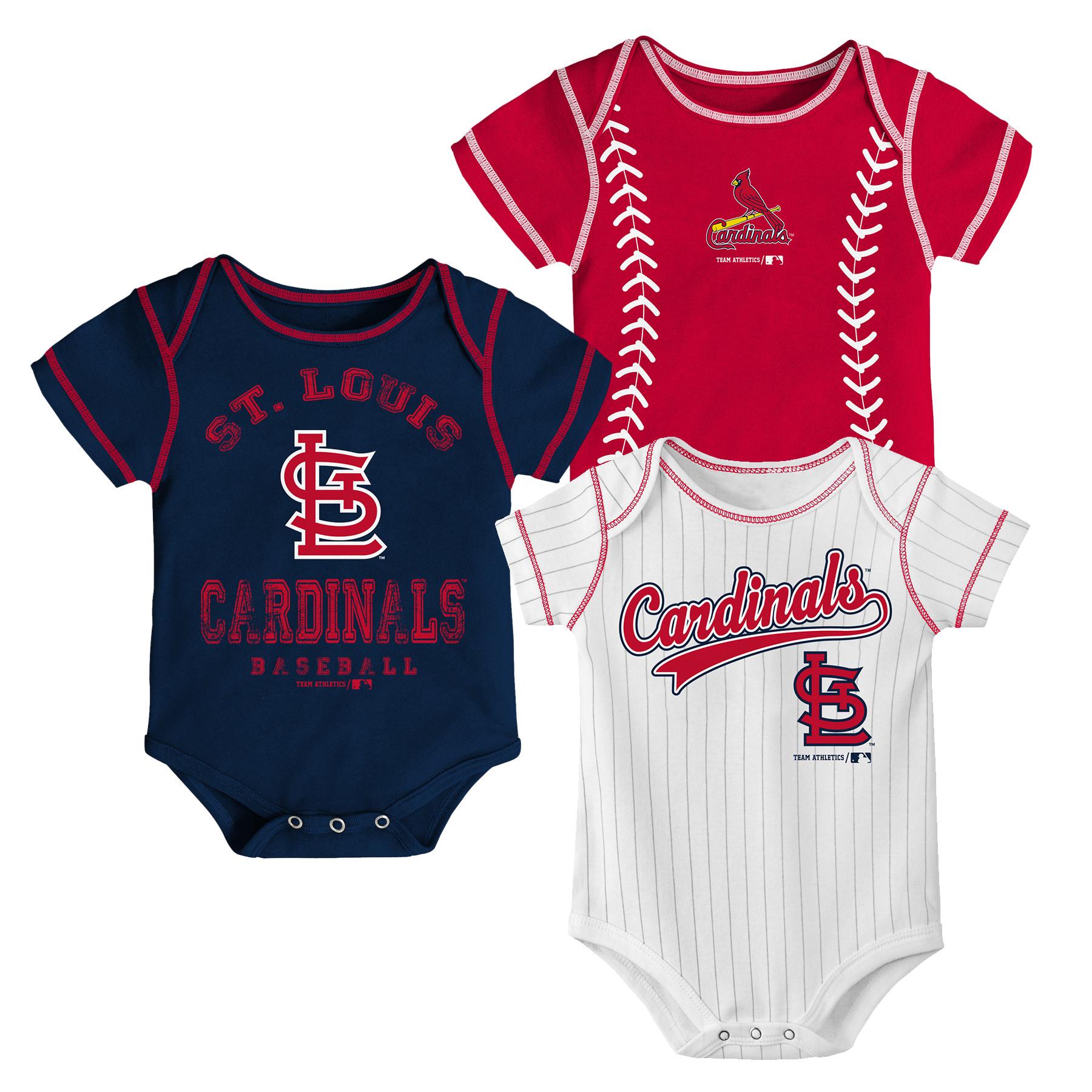 MLB St Louis Cardinals Onesie Creeper BOY 3PK 100% Cotton ASSORTED Colors 0M-18M