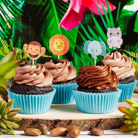 Juvale 200-Pack Jungle Safari Zoo Animal Cupcake Decorations Party Topper Picks, 1 x 3 Inches - image 6 of 7