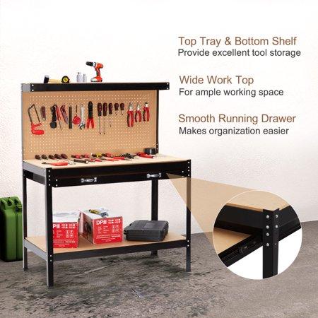 Finether Heavy Duty Steel Workbench Tool Table