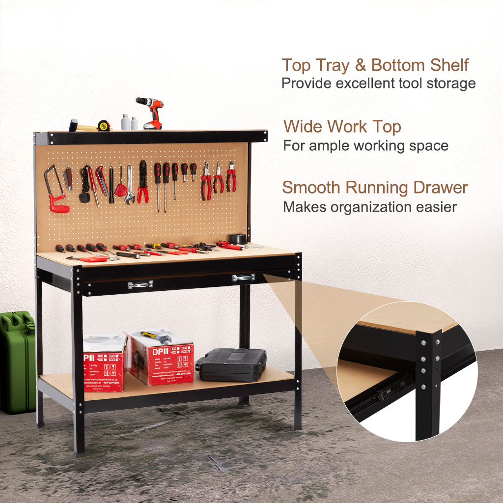 Finether Heavy Duty Steel Workbench Tool Table