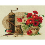"""Coffee Counted Cross Stitch Kit, 11.75"""" x 9.5"""", 14-Count"""