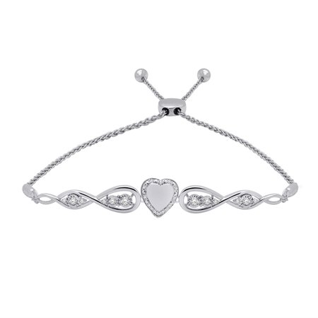 0.15 Ct Round Cut Natural Diamond 925 Sterling Silver Heart Infinity Bolo Bracelet