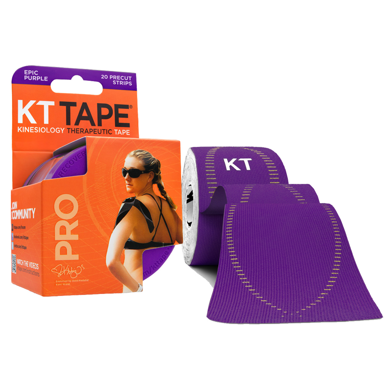 KT TAPE PRO Synthetic Elastic Kinesiology 20 Pre-Cut 10-Inch Strips Epic Purple