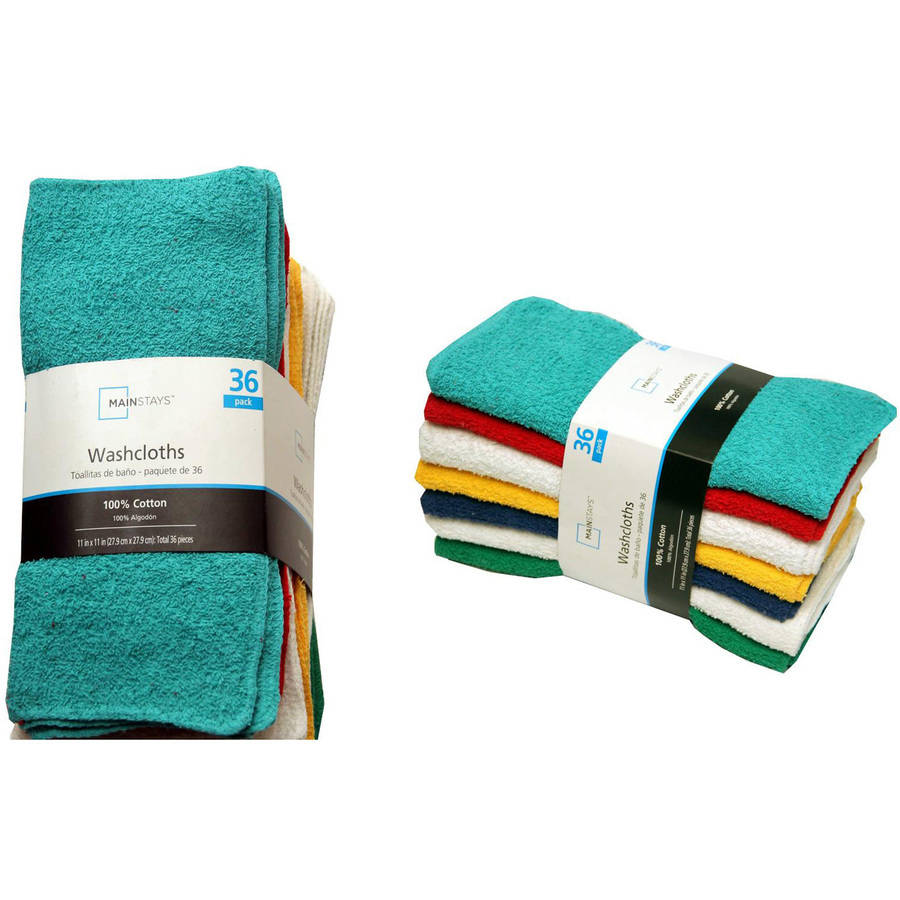 Mainstays Washcloth Collection, 36-Pack
