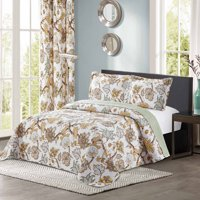 All American Collection New 3pc Printed Modern Floral Bedspread Coverlet (Oversized King/Cal King, Yellow)