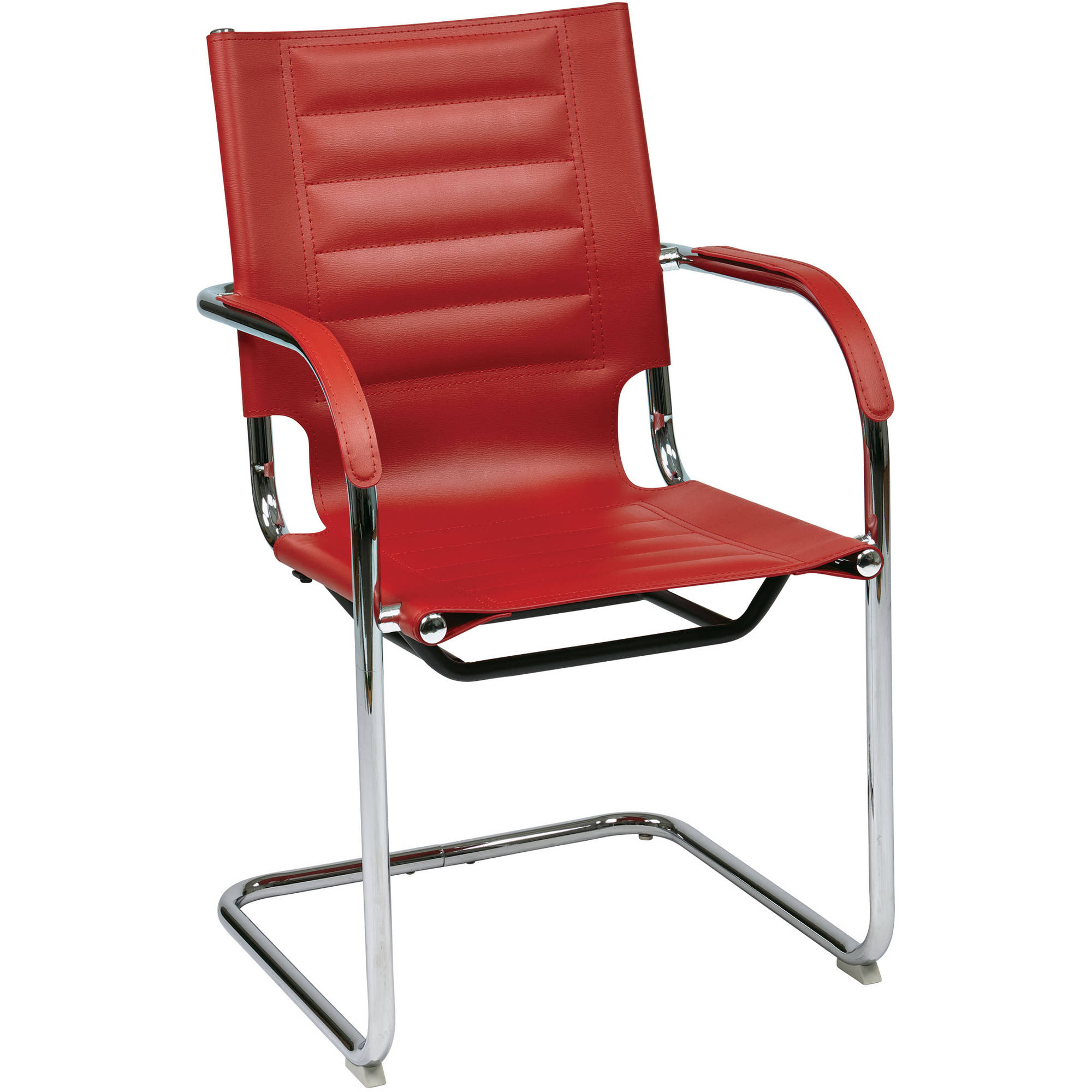 Work Smart Trinidad Guest Chair in Red Vinyl, Red