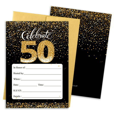 50th Birthday Party Invitations | 10 Cards | 5x7 Invites with Envelopes | Black and Gold - Funny Halloween Birthday Invitations