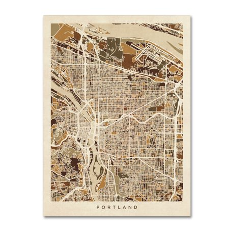 Trademark Fine Art Portland Oregon City Street Map Ii Canvas Art By Michael Tompsett